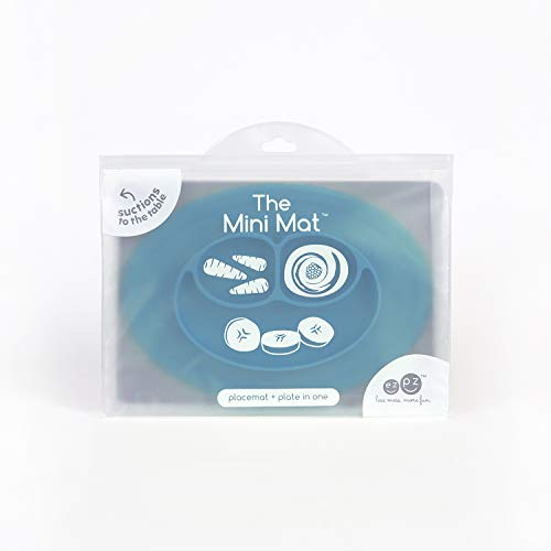 31wY6vIrVgL - Ezpz Mini Mat (Blue) - 100% Silicone Suction Plate With Built-in Placemat For Infants + Toddlers - First Foods + Self-Feeding - Comes With A Reusable Travel Bag