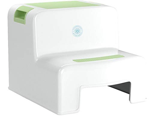 Chubberroo Kids Dual-Height (Green) Step Stool for Kitchen, Bathroom, Toilet, Sink, Toddler's Easy 2 Step Stool for Potty Training