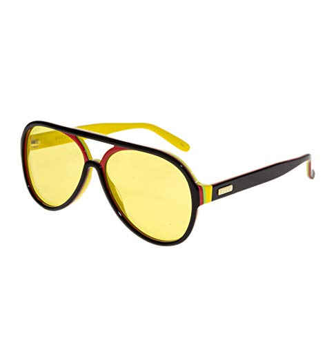 - GUCCI 0270 Black Red Yellow Stripe Retro Aviator Unisex Sunglasses GG0270S