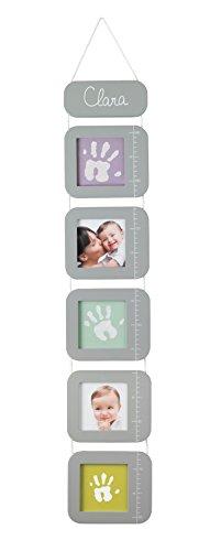 Baby Art 34120120 - Height Print Chart, Messlatte mit 5 Bilderrahmen für Kinder, lichtgrau