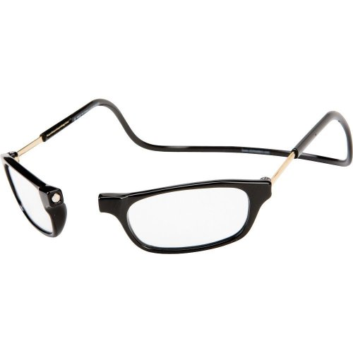 CliC Original Long Stem Adjustable Front Magnetic Connect Reading Glasses; Black +3.00