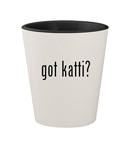 got katti? - Ceramic White Outer & Black Inner 1.5oz Shot Glass