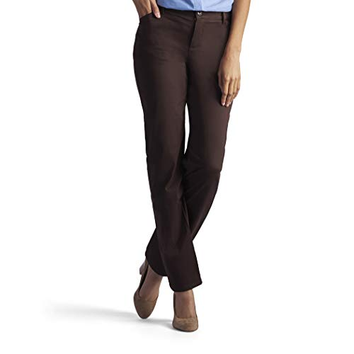 LEE Women's Petite Relaxed Fit All Day Straight Leg Pant, roasted chestnut brown, 14 Short Petite