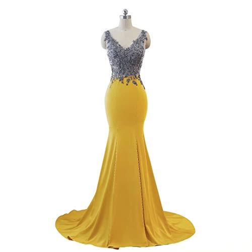 Formale Lange 16 Frauen Doppel Mermaid Kleider Ausschnitt Abendkleid Party V E5pw7xaqAw