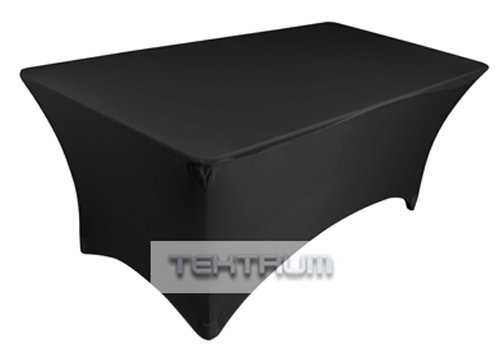 TEKTRUM 6 FT LONG RECTANGULAR STRETCH TABLECLOTH DJ JACKET COVER FOR TRADE SHOW - PREMIUM FABRIC (Black)