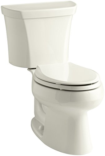 (KOHLER 3988-RA-96 Wellworth Two-Piece Elongated Dual-Flush Toilet with Right-Hand Trip Lever, Biscuit)