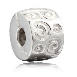 Breloques /à clip stopper 2/pcs Clips /à perle brillants pour bracelet /à breloques europ/éen en v/éritable argent sterling 925/