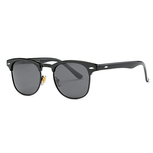 AEVOGUE Polarized Sunglasses Semi-Rimless Frame Brand Designer Classic AE0369 (Black&Black Frame, 48)