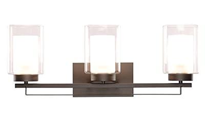 Wall Light 1 Light Bathroom Vanity Lighting with Dual Glass Shade in Brushed Nickel Indoor Modern Wall Mount Light Suitable for Bathroom & Living Room XiNBEi-Lighting
