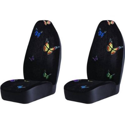 Monarch Butterfly Bucket Seat Covers Pair Black Color