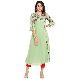 31wYIlHTTRL. SS320 Janasya Women's Light Green Poly Crepe Kurta (JNE3368-KR)
