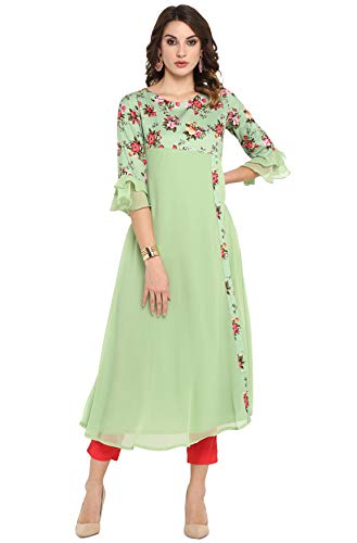 Janasya Women's Light Green Poly Crepe Kurta
