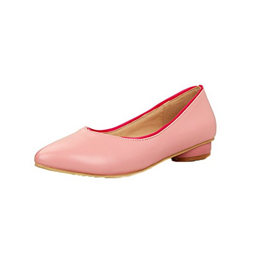 Odomolor Women's Closed-Toe Pull-On PU Solid Low-Heels Court Shoes Pink
