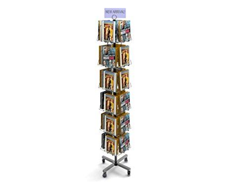 FixtureDisplays 24-Pocket Book Stand for Floor, Full-View Pockets, Header Clip - Black - 24 Pocket Display
