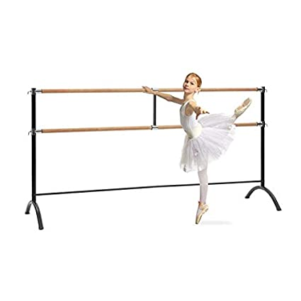Klarfit Barre /• Double Ballet Bar /• Free-Standing /• 43 x 44 inches /• 2 x 1.5 inches /Ø /• Powder-Coated Steel Tubes with Wooden Look /• Suitable for Numerous Stretch and Movement Exercises