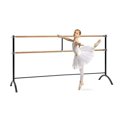 • Double Ballet Bar • Free-Standing • 86 x 44 inches • 2 x 1.5 inches Ø • Powder-Coated Steel Tubes with Wooden Look • Suitable for Numerous Stretch and Movement Exercises • Black ()