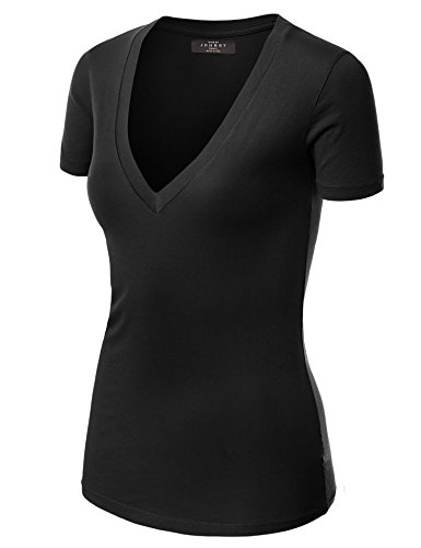 - Made By Johnny WT3 Womens Basic Fitted Soft Short Sleeve Deep V Neck T Shirt S Black