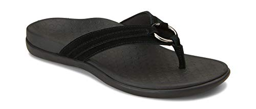 Vionic Women's Tide Aloe Toe-Post Sandal - Ladies Flip- Flop with Concealed Orthotic Arch Support Black Suede 7 M US