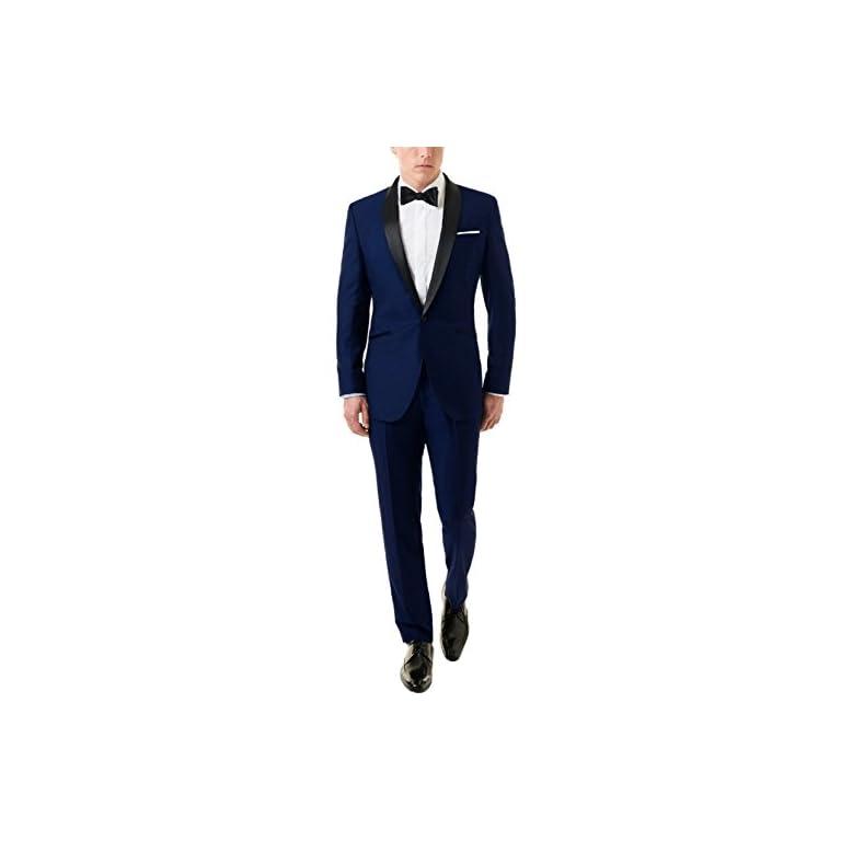 31wYNTounLL. SS768  - MENJESTIC Men's English Blue Tuxedo Blazer with Velvet Shawl Lapel