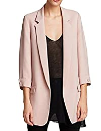 Fubotevic Women's Wear to Work 3/4 Sleeve Open Front Classic Solid Blazer Jackets