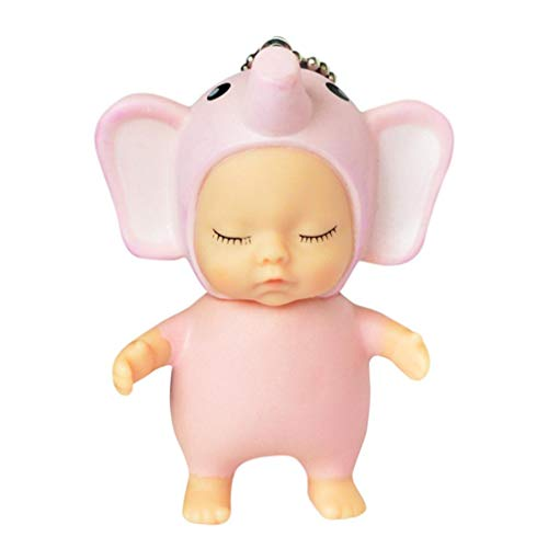 Cinhent Toys, Cute Funny Cartoon Animals Sleeping Baby Doll Rubber Pendant Keychain Keyring Baby Toy, 9 x 5 cm, Exquisite Phone / Backpacks Decor Collection, Party Gifts Favors (Elephant)