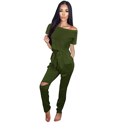 Longwu Women's Fashion One Shoulder Drawstring Jumpsuits Rompers Knee Hole Pants with Pockets Army Green-M ()