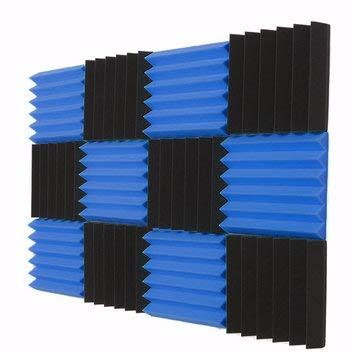 Musical Instruments Pro Audio Equipment Parts - 12 Pcs Black Blue Pyramid Acoustic Soundproofing Foam Tile Studio Panel ()