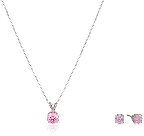 Sterling Zirconia Pendant Necklace Earrings