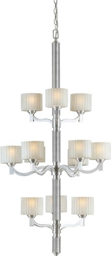 Forte Lighting 2388-12-55 Chandelier with Umber Linen Glass Shades, 56
