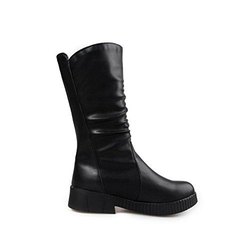 Amoonyfashion Dames Zacht Materiaal Ronde Gesloten Neus Lage Hakken Pull On Boots Zwart