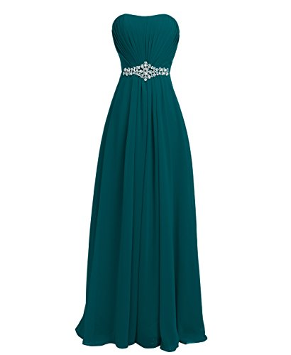 Dress Teal Homecoming (FAIRY COUPLE Women's Strapless Chiffon Elegant Graduation Homecoming Ball Gown Dresses D004 US6 Teal)