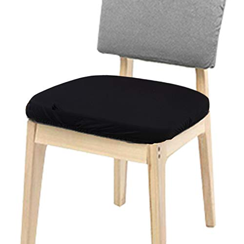 Voilamart Chair Seat Covers, Dining Chair Cover Slipcovers, Stretchable Chair Protectors for Dining Room Office Chair - Pack of 4, 21inch, Black by Voilamart