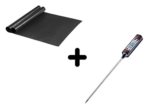 FEROS KIT - (3 Items!) 2 Non Stick BBQ Grill Mats + Digital Thermometer. LCD Display Long Probe Cooking Grilling Oven Meat Thermometer (Lower Mountain Fork)
