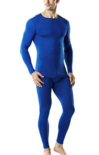 TSLA Blank Men's Microfiber Fleece Lined Top & Bottom Set, Thermal Set(mhs100) - Blue, Large