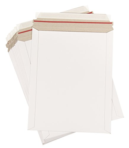 Rigid Mailers - 25-Pack Stay Flat Photo Document Mailers, Self-Seal Paperboard Envelope Mailers for Photos, Pictures, Documents, No Bend, White, 9 3/4 x 12 1/4 inches (Envelopes 12 Count 25 X 9)