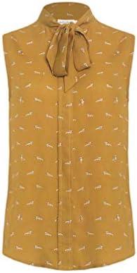 LaVieLente Women\u2019s Chiffon Animal Pattern Sleeveless Bow Tie Collar Button Down Blouse Shirt for Work Casual Tops