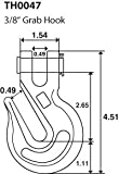 """TEMCo 4 Lot 3/8"""" Chain Grab Hook Pin Clevis Rigging"""