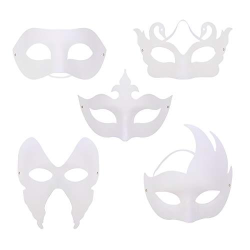 TOYANDONA 10pcs DIY White Mask Half Face Mask Unpainted Masquerade Mask Halloween Costume]()