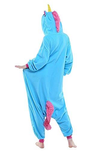 Unicorn Unisex Da Adulto Onesie Animale Vello Pigiama Blau Biancheria Unicorno Notte URv1q