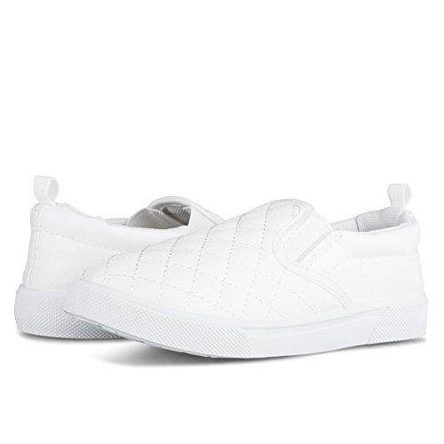 Chillipop Unisex Junior Fashion Sneakers - Slip On, Acolchado, Imitación De Cuero Blanco