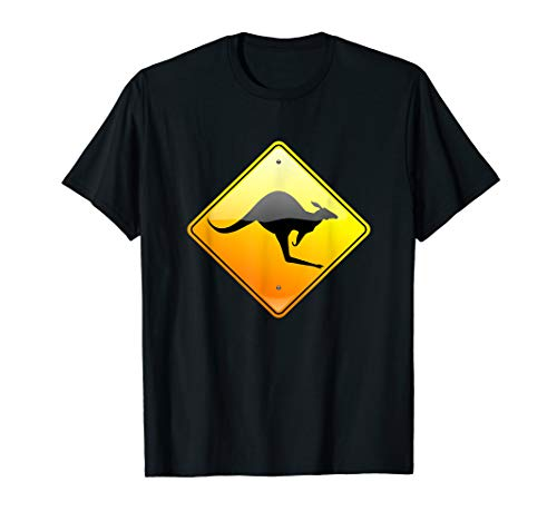 Kangaroo Crossing Traffic Road Street Sign T-Shirt Warning -