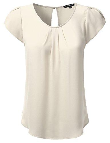 JJ Perfection Women's Woven Petal Short Sleeve Blouse Ivory ()