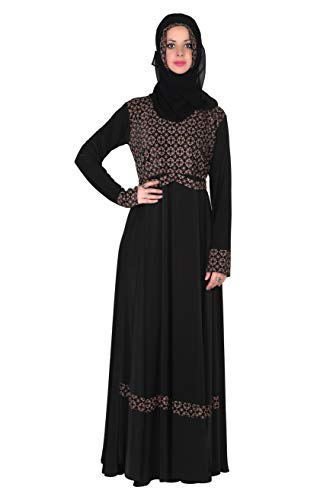 SOFIAS Abaya Women's Crystal Lycra Fabric Burqa Set (Black, 2XL)