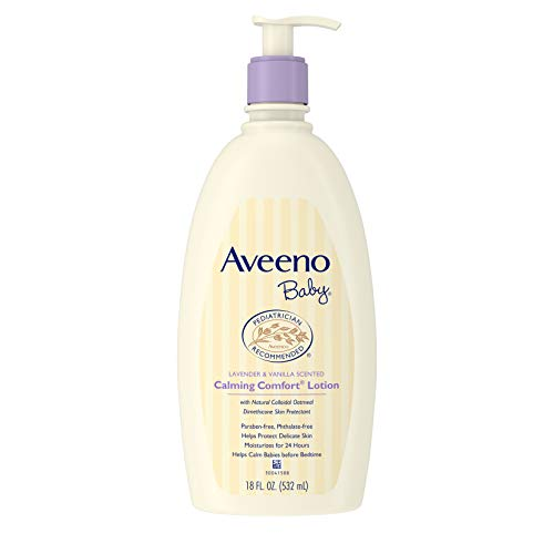 Baby Lotion Oatmeal - Aveeno Baby Calming Comfort Moisturizing Lotion with Lavender, Vanilla and Natural Oatmeal, 18 fl. oz