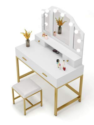 Tribesigns 47 Large Vanity Set With Tri Folding Lighted Mirror Elegant Makeup Table Vanity Dresser With 4 Drawers 10 Led Lights And Cushioned Stool Dressing Table For Girls Bedroom White Gold Amazon In Home