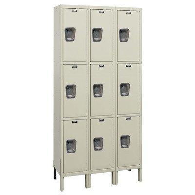 (Hallowell UY3258-3A-PT Maintenance Free Quiet KD Metal Locker, Assembled, 3-Wide Grouping, 3 Tier, 24