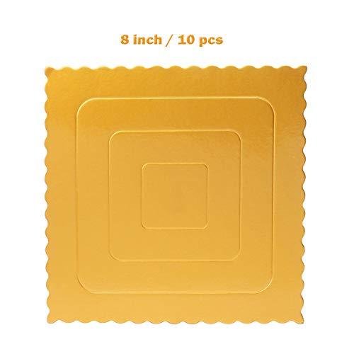 Set of 10 Square Cake Board, Gold Cake Stands Cardboard Scalloped Cake Circle Base, 8 - Base Scalloped