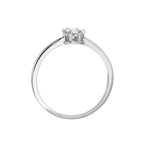 Carissima Gold - 1.58.409z - Femme - Or blanc 9 carats or Bague Grappe - Diamant 0.15 Cts