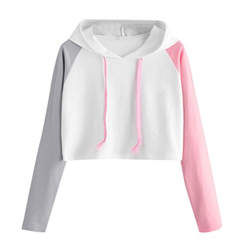 2018 Fashion Sweatshirt, ZYooh Womens Casual Crop Top Long Sleeve Hoodies Pullover 3 Color Block Blouse (White, M)