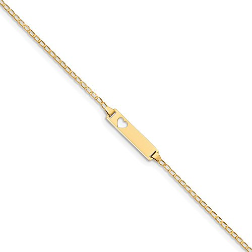 14k Yellow Gold Engravable 6in Baby ID Curb Bracelet ()